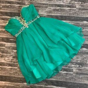 Strapless Homecoming dress gown rhinestones
